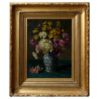 1900s Traditional Floral Still Painting of Vase Bouquet on Table in Giltwood Frame For Sale