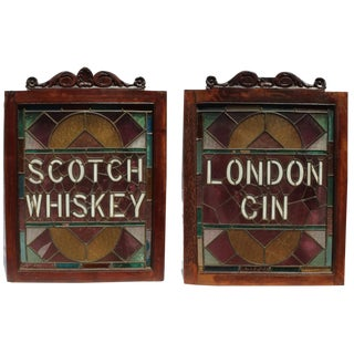 1920s Vintage English Pub Stained Glass - a Pair