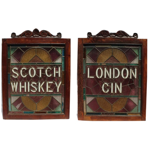 1920s Vintage English Pub Stained Glass - a Pair For Sale