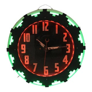 Art Deco American Aztec Neon Clock For Sale