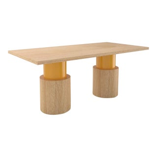 Contemporary 102C Dining Table in Oak and Yellow by Orphan Work, 2020 For Sale