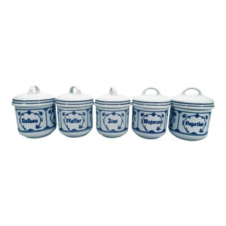 German Blue & White Spice Jars with Lids - Set of 5 For Sale