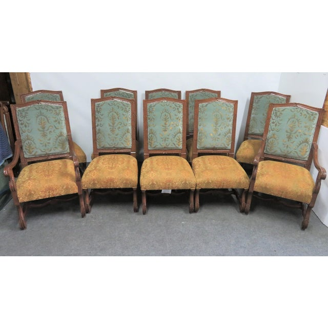 Orange Rococo Style Italmond Furniture Co Dining Chairs - Set of 10 For Sale - Image 8 of 12