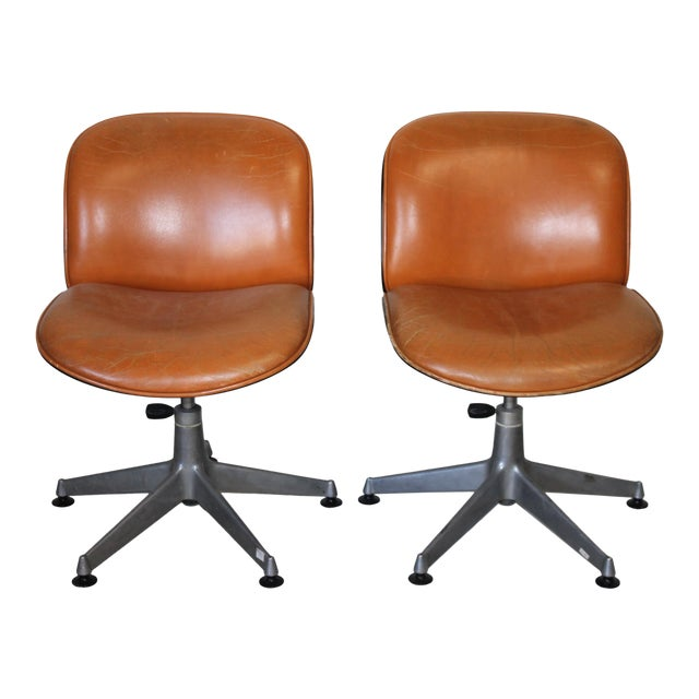 1960s Vintage Ico Parisi Italian Ultra Modern Leather Chairs- A Pair For Sale