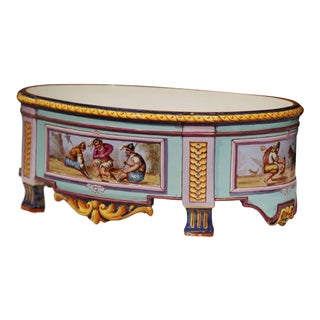 Early 20th Century, French Hand Painted Ceramic Oval Jardinière Signed For Sale