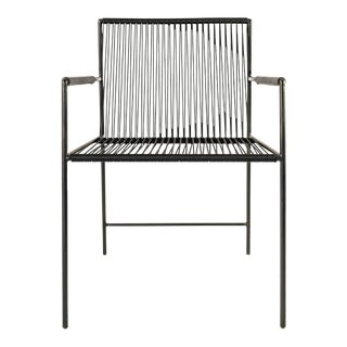 Blackened Steel and Black Rope Sloop Arm Chair For Sale
