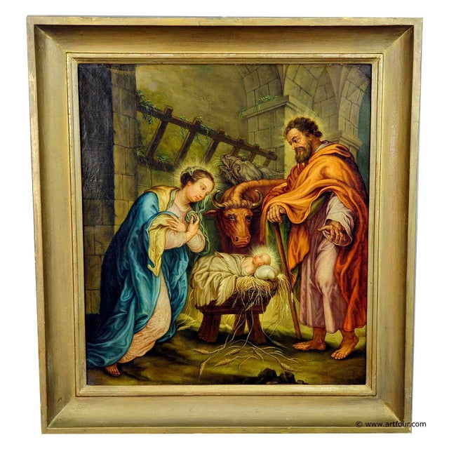 Unknown - Mary And Joseph In The Barn Of Bethlehem For Sale - Image 6 of 6