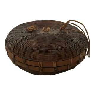 Antique Round Wicker Sewing Basket For Sale