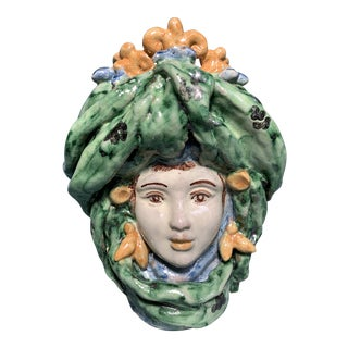 1950s Vintage Italian Majolica Pottery Face Vessel For Sale