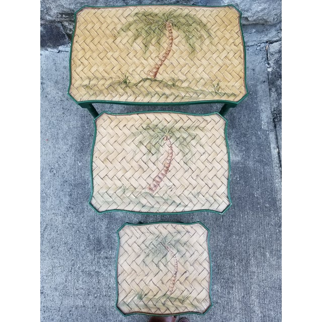 1970s Vintage Cane Wicker & Painted Wood Palm Tree Motif Nesting Table - Set of 3 For Sale - Image 5 of 9