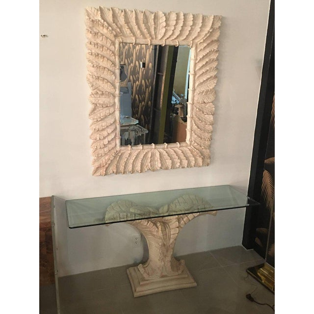 Tropical Palm Tree Faux Bamboo Console Table & Mirror - A Pair For Sale - Image 10 of 11