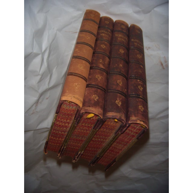 4 Old Leather Bound Books Works of Schiller in German - Image 3 of 6