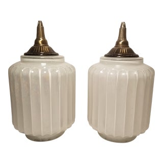 Vintage Iridescent Glass Light Fixtures - A Pair