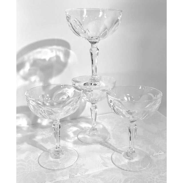 """Set of 4 Tall Champagne / Dessert Cup Cristal D'Arques Durrand """"Washington"""" Glasses For Sale - Image 11 of 11"""