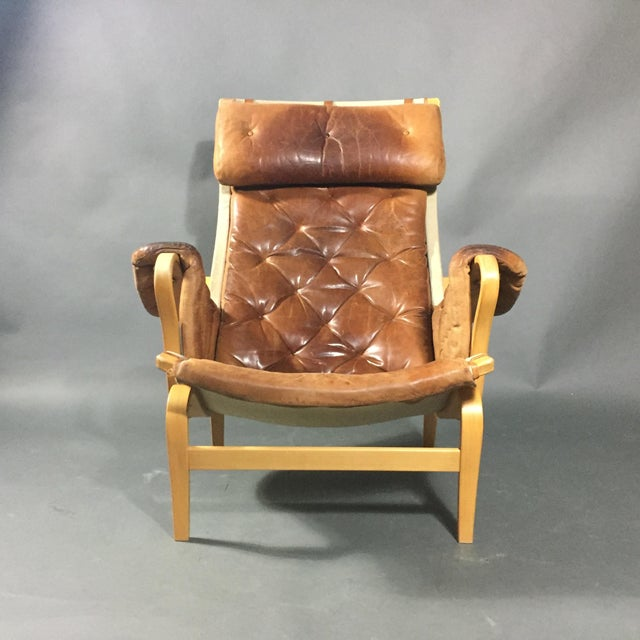 "Brown Bruno Mathsson ""Pernilla"" Lounge Chair + Ottoman, Sweden For Sale - Image 8 of 13"