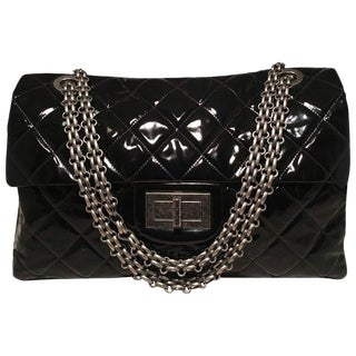 Chanel 2.55 Reissue Classic Flap Oversized Xxl Black Patent Leather Shoulder Bag For Sale