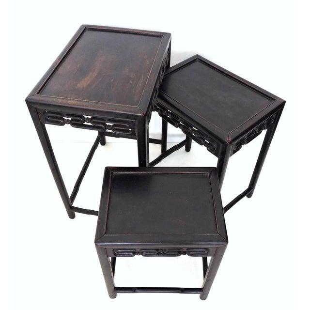 Antique Wood Nesting Tables Set Of 3 ~ Antique chinese rosewood nesting tables set of chairish