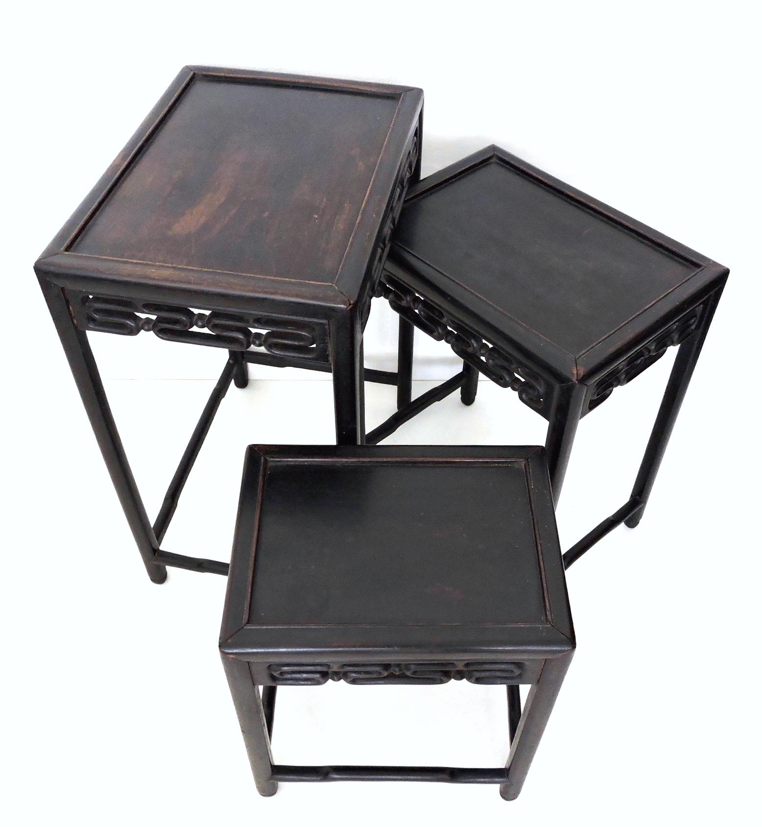 Antique Chinese Rosewood Nesting Tables Set Of 3 Chairish