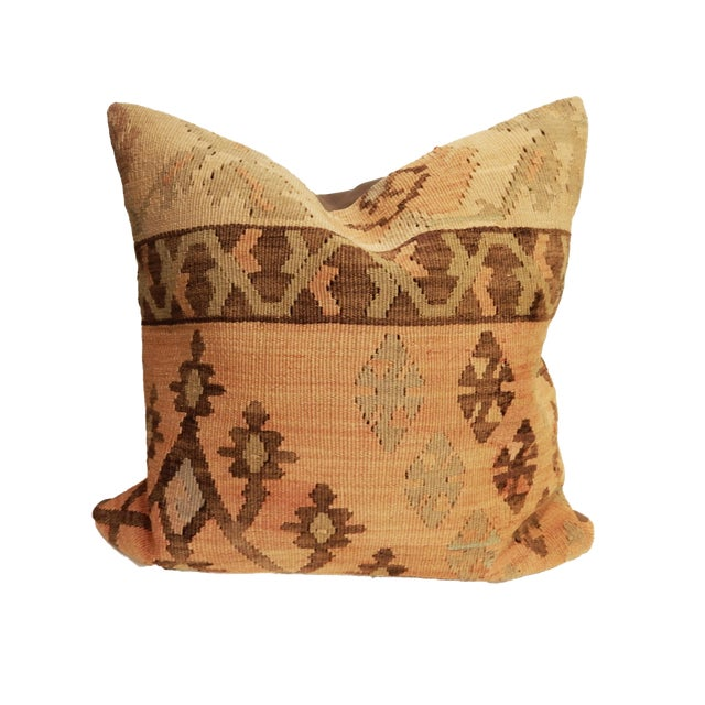 Old Turkish Tribal Kilim Pillow - Image 1 of 7