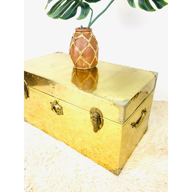 1970s Vintage Campaign Chest Coffee Table Trunk For Sale - Image 5 of 10