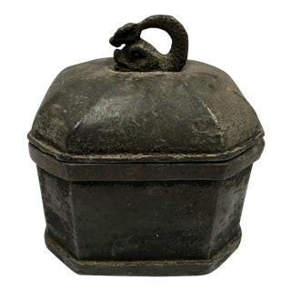 Early 20th Century Antique Koi Fish Handle Lead Tobacco Box For Sale
