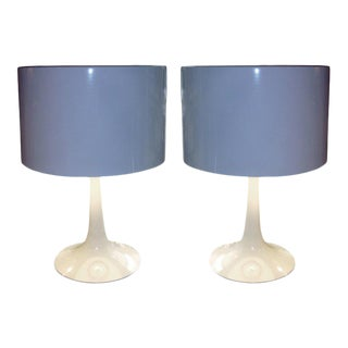 Pair of Saarinen Style White Enamel Table Lamps With Metal Shade For Sale