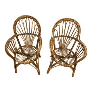 Paul Frankl Style Vintage Rattan Chairs, a Pair For Sale