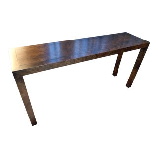 Vintage Mid-Century Modern Burlwood Parsons Console Table For Sale