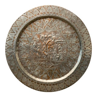 Early 20th Century Vintage Persian Silver Embossed Ghalam Zani Tray For Sale