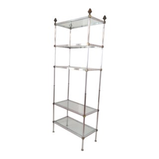 1970s Brass and Chrome Etagere For Sale