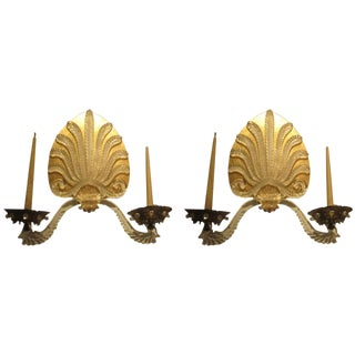 Unusual Pair of French 1940s-1950s Sconces For Sale
