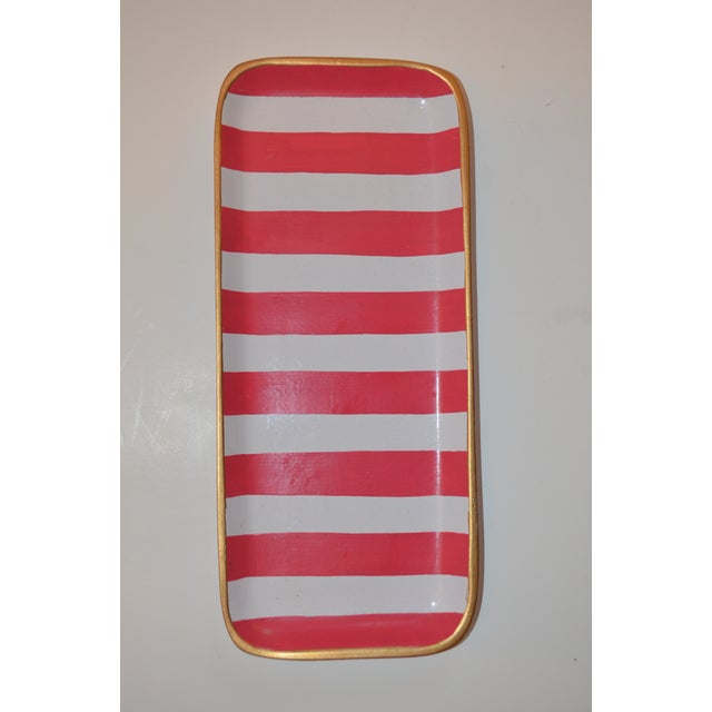 Dana Gibson Melon and White Striped Trinket Tray For Sale - Image 11 of 13