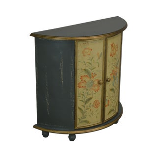 Distressed Painted Demilune Console Cabinet For Sale