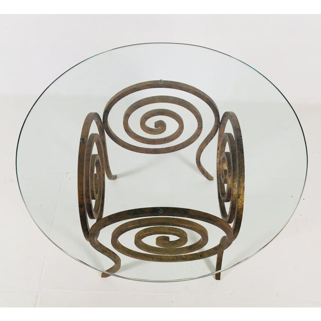 Scroll Wrought Iron & Glass Coffee Table For Sale - Image 4 of 8