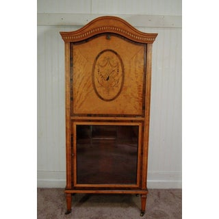 Antique Satinwood Musical Inlaid French Adams Sheet Music Cabinet Etagere Stand Preview