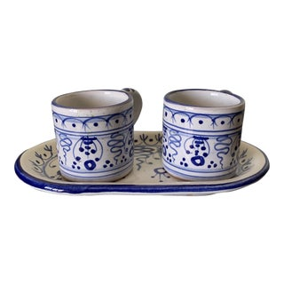 1980s Hand Painted Italian Espresso Cups With Tray - Set of 3 For Sale