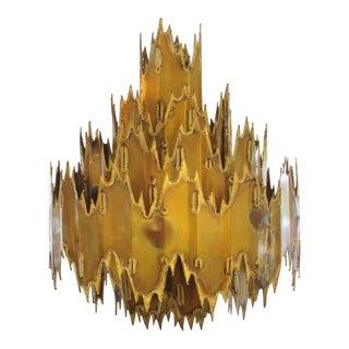 Markdown - 1960s - Large Seven Tier Tom Greene Brutalist Torch Cut Brass Chandelier - Feldman Lighting Company For Sale