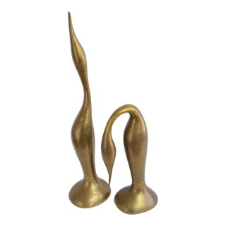 Mid Century Modern Brass Crane Figurines - a Pair For Sale