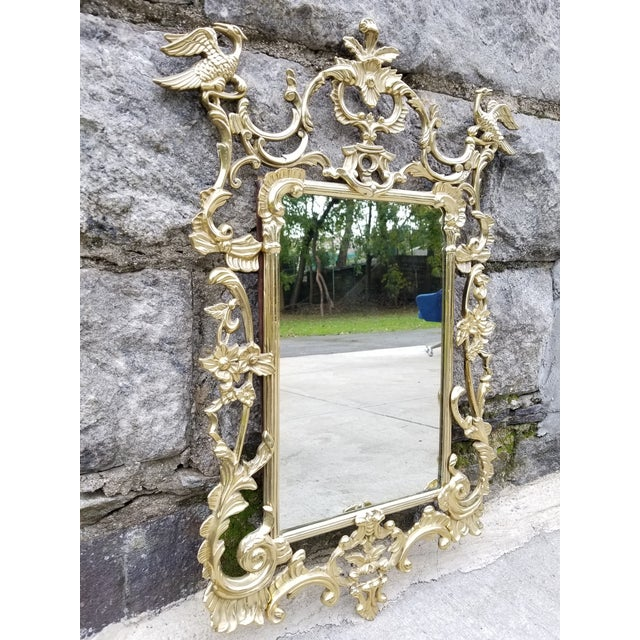 Chippendale Vintage Brass Chippendale Style Ho Ho Bird Mirror For Sale - Image 3 of 13