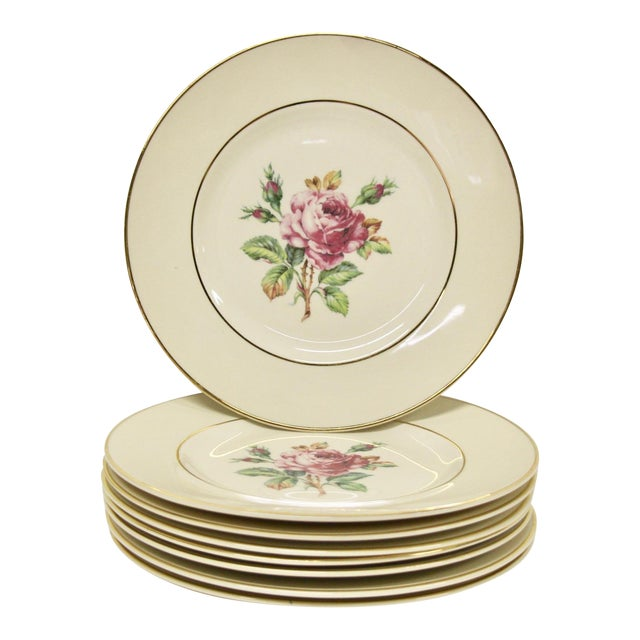 Garden Rose China Plates, S/8 For Sale