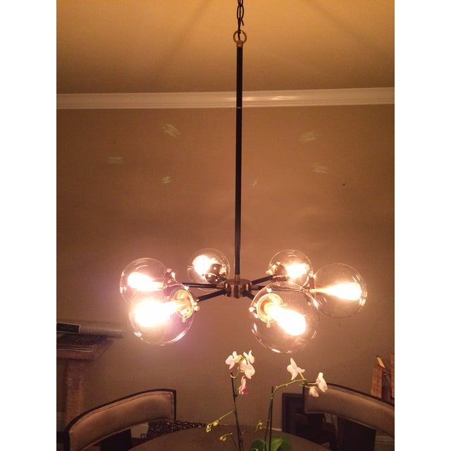 6 Light Glass Orb Chandelier For Sale - Image 4 of 7