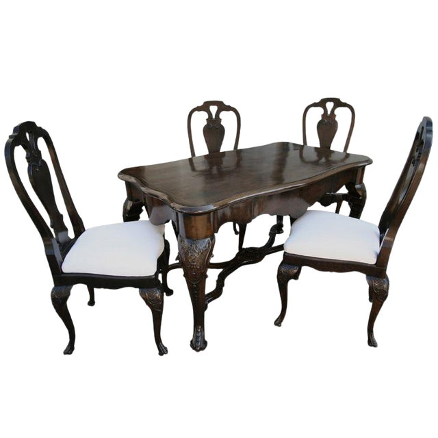 19th Century Dutch Library Desk Table and Chairs Set For Sale