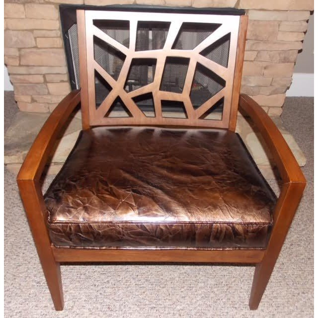 Art Deco Art Deco Illusion Leather Armchair For Sale - Image 3 of 5