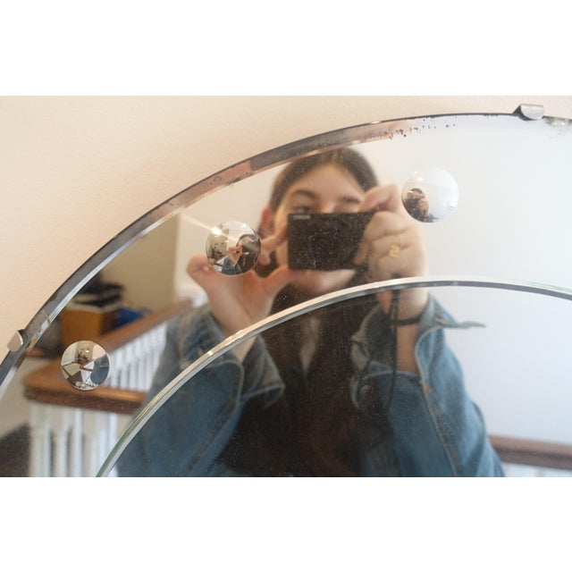 1940s Art Deco Round Frameless Mirror For Sale - Image 4 of 5