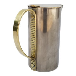 1930s Vintage Nickel Plated Brass Art Deco Pitcher For Sale