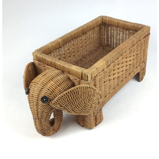 1970s Vintage Wicker Elephant Planter For Sale - Image 12 of 12
