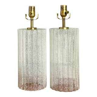 Contemporary Fluted Glass Lamps - a Pair For Sale