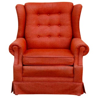 Mid Century Tufted Orange Wingback Chair