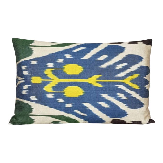 Boho Chic Custom Down Feather Silk Atlas Accent Pillow For Sale - Image 3 of 3