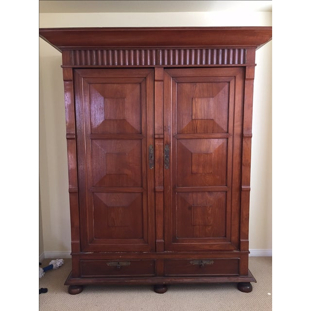 Solid Teak Art Deco Wood Armoire - Image 2 of 7